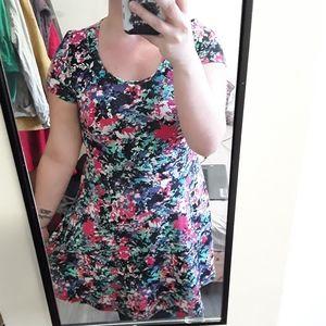Forever 21+ multicolor mesh floral skater dress